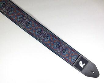 Vintage Blue and Red Paisley Ribbon Guitar Strap - Woven Ribbon