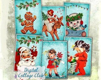 Retro Christmas Party- Digital Christmas Images for Jewelry Holders Atc Cards Digital Tags Cards Labels Download Collage Sheet