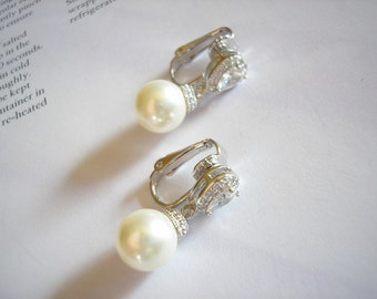 Sale Bridal Elegant Silver Swarovski Pearl Cubic Zirconia Clip On Earrings White Ivory Blush Pink