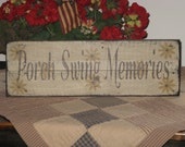 Porch Swing Memories upcycled recycled repurposed wood pallet sign with daisy's