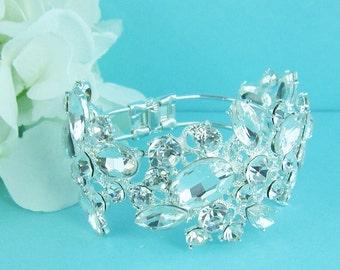 Bridal Cuff bracelet, rhinestone cuff wedding bracelet, rhinestone bangle bracelet, bridal jewelry, wedding accessories, wedding jewelry