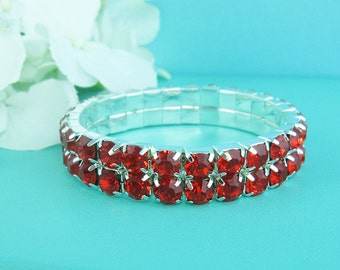 Red Bridal bracelet, rhinestone wedding bracelet, crystal bracelet, bridal jewelry, wedding accessories, bridesmaid bracelet