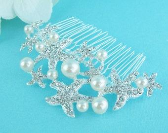 Starfish Hair Comb, Custom Pearl Starfish Comb, beach wedding hair comb, crystal rhinestone hair comb hair comb wedding 206549922