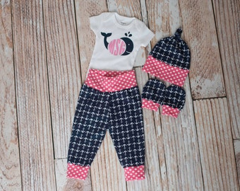Personalized Whale Nautical Anchors Summer Baby Pants, Hat, and Mitts Set with Whale and Initials Bodysuit in Pink and Polka Dot Trim/Navy