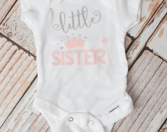 Newborn Coming Home Baby Princess Crowns Bodysuit Little Sister Glitter and Soft Pink