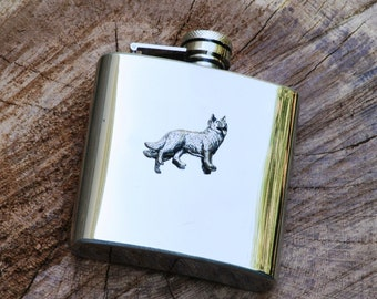 Alsatain Design 6oz Hip Flask Stainless Steel Gift FREE ENGRAVING