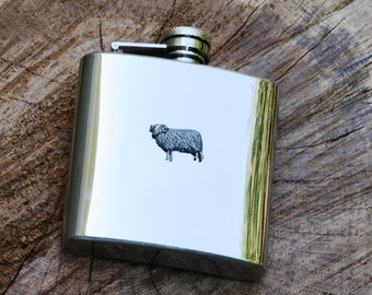Sheep Farming Hip Flask 6oz Farming Gift Stainless Steel FREE ENGRAVING