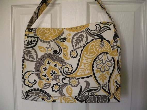 Abstract Yellow & Black Messenger Diaper Bag