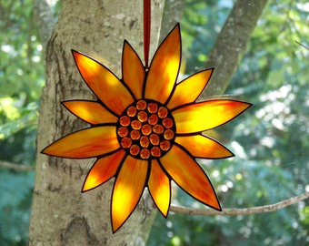 Stained Glass Flower Orange, Stained Glass Suncatcher, Flower Suncatcher, Orange Flower, Flower , Orange Flower,  Stained Glass Sunflower