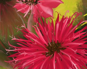 """Original dgital Floral painting print, """"Bee Balm"""" A painting of red Bee Balm flowers on a lime and dark green background by NancyLongDesigns"""