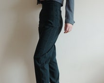 Vintage Deep Green high waist stretchy pants with buttons/zipper and side lines, size 3, Made in France