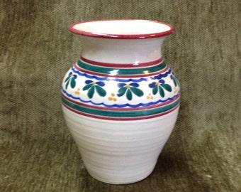 Urn Shaped Pottery Vase, Signed Dana, Horizontal Stripes and Floral Design
