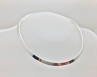 "16"" Sterling Silver Choker with Hinge // 6mm Width"