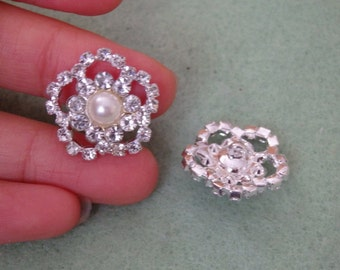 2 diamante crystal buttons pearl rhinestone embellishment sewing UK 19mm--b01