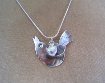 Bird necklace, singing bird necklace, silver bird necklace, handmade silver necklace, bird pendant, valentine's  gift,  birthday gift