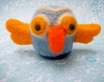 Needle Felted Bird, Multi Color Wool Bird, Whimsical Wool Bird