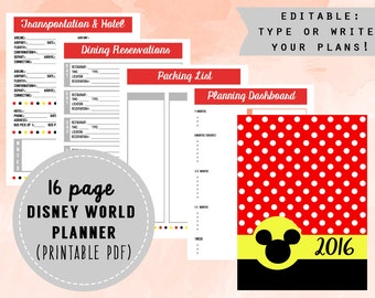 2016 Editable Disney World Planner (REDESIGNED)