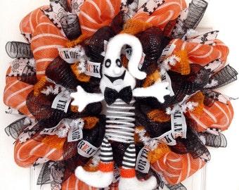 Adorable Springing Boo Ghost  Halloween Deco Mesh Wreath