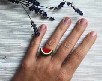 Watermelon Earrings and Ring Set - Watermelon Jewellery Set - Spring Jewellery - Watermelon Earrings - Fruit Jewellery - Spring Earrings