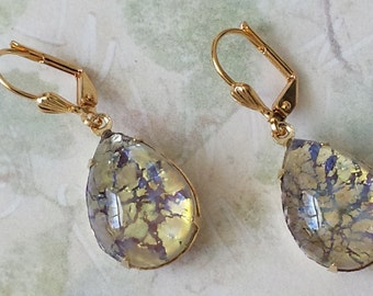 Amethyst Rhinestone Earrings Gold Drop Earrings Amethyst Drop Earrings Purple and Gold Earrings Amethyst Earrings Old Hollywood Glam