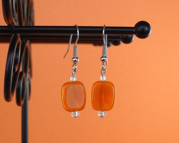 Orange glass beaded earrings Dangle earrings Drop earrings Orange earrings Clear earrings Transparent earrings Clear earrings Handmade Orange glass beaded earrings Dangle earrings by TheBeadedCatsEye - 웹