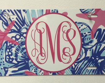 Lilly pulitzer inspired Monogram Car Tag