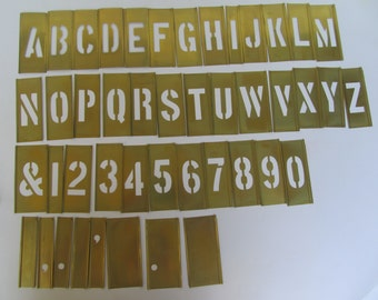 Brass Stencil Set - Marking - lockedge  - 2''  Letters and Numbers - and more - good vintage