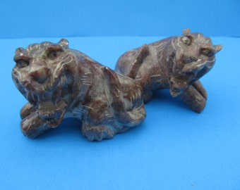 Carved Stone Lions - Cats - Tigers -  Miniatures  set of 2    vintage