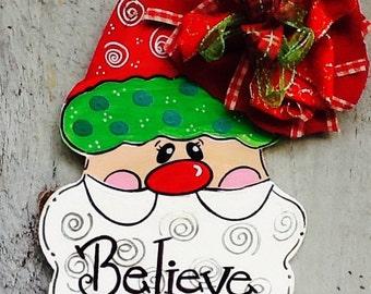 Santa door hanger, santa door sign, santa sign, believe door hanger, believe sign, christmas door hanger, christmas sign, winter door hanger