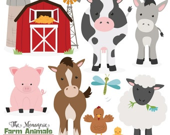 Premium Farm Animals Clip Art & Vectors - Farm Animals Clipart, Farm Animal Vectors, Barn Yard Clipart, Cow Clip Art, Horse Clip Art, Pig