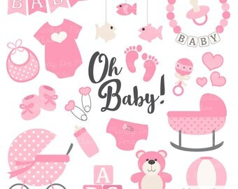 Baby Girl Clipart Cute Baby Clipart Watercolor   etsycom