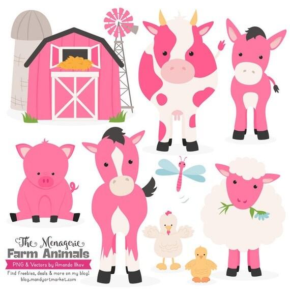 Premium Hot Pink Farm Animals Clip Art Amp Vectors Pink Farm