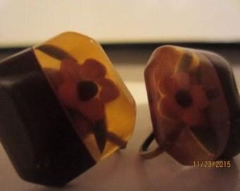 vintage reverse carved apple juice laminate bakelite brown flower earrings