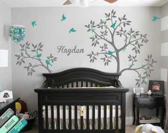 Baby name tree wall decal Nursery tree decoration Baby room wall tattoo Tree wall decals Personalized baby name decal Grey tree KR052_2
