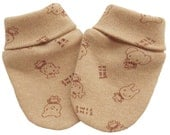Organic Cotton Newborn Baby Anti Scratch Mittens Gloves Cartoon, Size 0-6 Months
