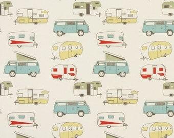 "Premier Prints  fabric VINTAGE CAMPER Formica Macon or Maya Macon 54"" wide 1 yard yardage decorator fabric"