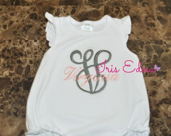 Personalized Baby Romper / Monogram Romper / Ruffle Baby Romper with Name