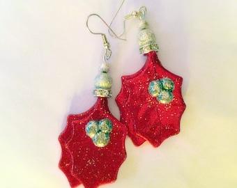 Festive red holly earrings