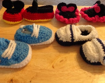 crochet baby sneakers, monk shoes, or Mouse shoes