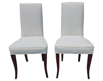 Sale Org ! 1295.00 Mid Century Modern Mahogany Side Chairs Newly Upholstered White Linen