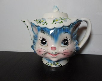 Vintage Lefton Anthropomorphic Miss Priss Kitty Ceramic Teapot - 4 Cup