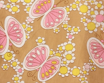 Vintage Fabric Remnants- Butterfly Flower Print- 60/70s Style