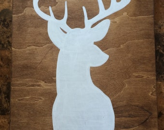 Deer Head Silhouette Handpainted Pallet Wood Home Decor Sign