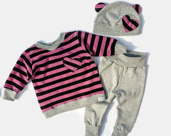 Baby Girl Cotton Sweat Set, Baby Girl Sweat Shirt, Infant Girl Cotton Clothes, Baby Girl Leggings Set, Baby Hat With Ears Set,Baby Girl Gift