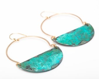 Avery Earrings - Verdigris Patina on Copper in 14 kt gold fill, sterling, oxidized sterling