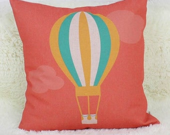 Flying Hot Air Balloon - Pillow Cover