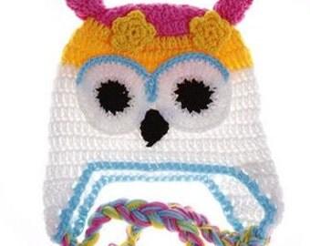 Yellow and White Owl Crochet Kids Hat