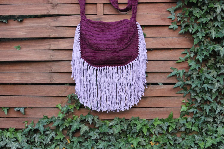 Crochet Tassel Bag : BOHO FRINGE BAG Crochet Fringe Bag Festival by SereneHutByTheSea