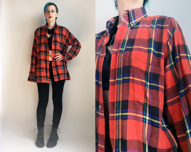 90s Clothes/ 1990u0026#39;s Flannel Shirt Vintage Red Plaid Button