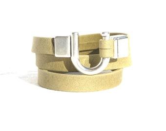 Leather Bracelet Wrap Khaki Matt